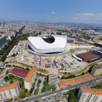 Une photo panoramique depuis un drone sur le stade Vélodrome